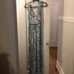 Lilly Pulitzer Teal Printed Maxi Dress